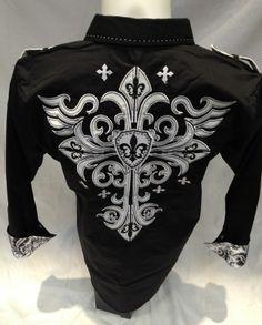 Victorious Button Down Dress Shirt Cross Fleur de Lis Black Roar Wit Class SH393