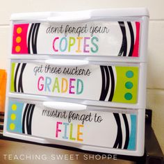 "Free ""Copy, Grade, File"" Sterilite drawer labels"
