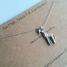 Giraffe Necklace Giraffe Pendant SIlver Giraffe by Instyleglamour
