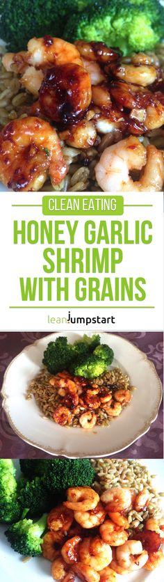 Pan seared shrimp with honey garlic marinade, broccoli and grains via #shrimp #seafood @leanjumpstart