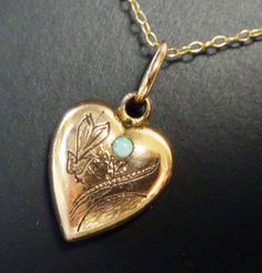 Antique Rolled Gold Plate Puffy Heart Necklace by BelmarJewelers