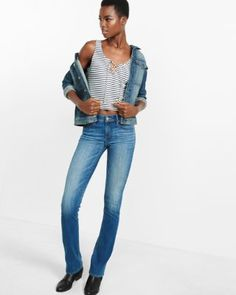 medium wash mid rise barely boot jean from EXPRESS