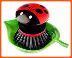 Vigar Ladybug Palm Dish Brush With Holder, 5-3/4-Inches by 3-3/4-Inches, Black, Red, White, Green - Kitchen gadgets (*Amazon Partner-Link)