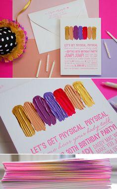 letterpress hello lucky hand painted birthday invitation from Edyta Szyszlo's blog - love the textural paint