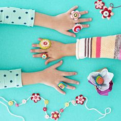 Your kids will love making this button jewelry. What a great gift idea for their friends!