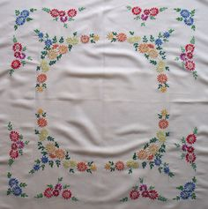 Rare Vintage Hand Embroidered Floral Linen Tablecloth Red Yellow Blue Daisy Flowers Retro Table Cloth Kitchenalia Cottage Decor Home Hand Embroidery Videos, Embroidery Alphabet, Hand Embroidery Flowers, Simple Embroidery, Hand Embroidery Designs, Embroidery Stitches, Embroidery Patterns, Machine Embroidery, Burgundy Bedding