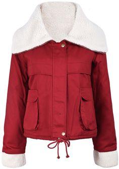 Red Fur Lapel Long Sleeve Drawstring Crop Outerwear US$43.61