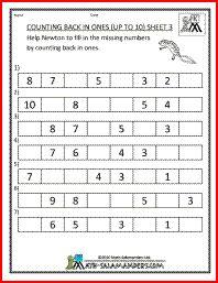 Kindergarten math free printables - sequence & counting, forward and backward.