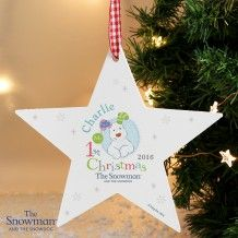 Personalised The Snowman and the Snowdog My 1st Chrsitmas Blue Wooden Star Decoration