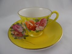Demitasse Teacup and Saucer, Collectible 1940's Made in Occupied Japan Merit China, Yellow with Pink Roses