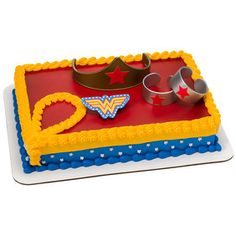 [Batman Birthday Party] Wonder Woman Strength & Power Cake Decoration Kit -- Click image for more details. (This is an affiliate link) Wonder Woman Cake, Wonder Woman Party, Wonder Woman Birthday Cake, Bmx Cake, Batman Birthday, 5th Birthday, Birthday Cakes, Birthday Ideas, Geek Birthday