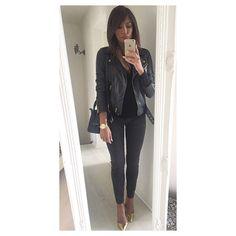 Ootd: slim @zara_worldwide # Perfecto cuir #nafnaf Escarpins @zara_worldwide  Celine nano ❤️