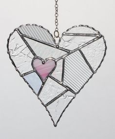 Stained Glass Suncatcher - Love, Pink Heart Abstract with Clear Textured Glass, Valentine's Day Gift 5.5x6.5 30.00