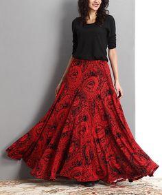 Look at this #zulilyfind! Red Paisley Swing Maxi Skirt #zulilyfinds
