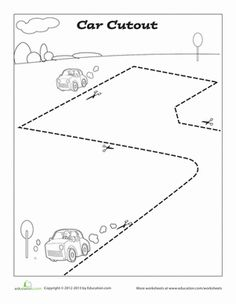 Preschool Fine Motor Skills Worksheets: Car Cutout Page Preschool Social Studies, Preschool Curriculum, Preschool Worksheets, Scissor Practice, Scissor Skills, Cutting Practice, Letter C Activities, Cutting Activities, Free Preschool