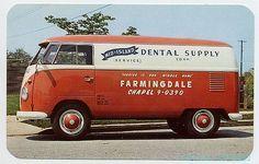 Volkswagen VW Vintage Advertising Postcard Farmingdale Long Island Dental Bus in Topics (Themes) > Advertising Volkswagen Transporter, Volkswagen Bus, Vw T1, Vw Camper, Volkswagen Beetles, Commercial Van, Commercial Vehicle, Vw Kombi Van, Combi T1