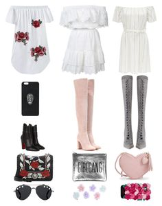 """Outfits"" by aasaayaa ❤ liked on Polyvore featuring LoveShackFancy, Zimmermann, Christian Louboutin, Gianvito Rossi, Miu Miu, Sarah Baily, Kate Spade, Philipp Plein, Monsoon and Givenchy"