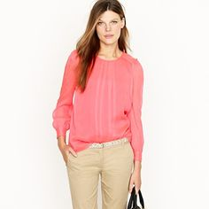 Silk Pintuck Blouse - JCREW (Of course!!) in neon rose. This shirt speaks to me it is so beautiful