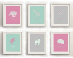 Baby Animal Prints Nursery Wall Art Nursery by CraftyCowDesign