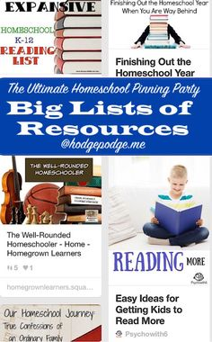 Big Lists of Resources at The Ultimate Homeschool Pinning Party  ♣  15.3.7