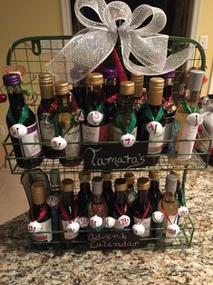 Mini Wine Bottle Advent Calendar. Great pre- Christmas gift. Crafty Christmas present. DIY Christmas