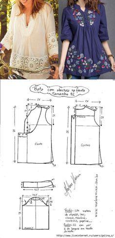 La túnica con la manga El patrón la dimensión (la Costura y el corte) Dress Sewing Patterns, Blouse Patterns, Sewing Patterns Free, Sewing Tutorials, Clothing Patterns, Blouse Designs, Sewing Tips, T Shirt Yarn, Diy Shirt