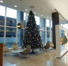 Blue and silver themed Christmas tree from Ambius UK
