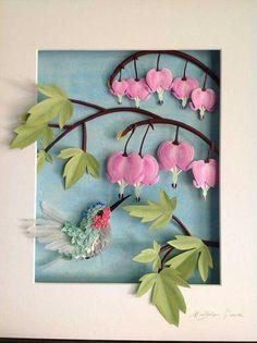 The art of Hilda Lara Humming sculpture on bird paper - Quilled Paper Art - - 3d Paper Art, Quilled Paper Art, Quilling Paper Craft, Paper Artwork, Origami Paper, Paper Crafts, Bird Artwork, Paper Paper, Kirigami