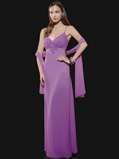 Sheath/Column Spaghetti Straps Chiffon Floor-length Beading Prom Dresses at dressestylish