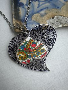Portugal Viana Folklore Scarf Heart of Minho Necklace- Large. $34.00, via Etsy.