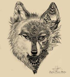 Tatuajes Tattoo Sketches, Tattoo Drawings, Body Art Tattoos, Sleeve Tattoos, Art Drawings, Tribal Wolf Tattoo, Wolf Tattoo Design, Tattoo Designs, Lobo Tribal