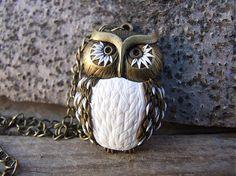 anavi / náhrdelník Owl biela