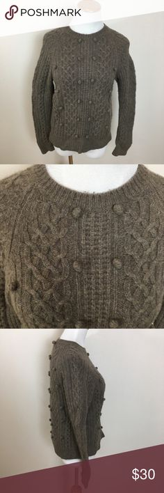 """J. Crew Lambs Wool Cable Knit Sweater Medium J. Crew Lambs Wool Cable Knit Pom Crew Neck Pullover Sweater Medium (Runs Small). Some fuzzing and possible light pilling. Tight weave. Confirm size with measurements before purchasing.  Clean and comes from smoke free home. Questions welcomed! Approx measurements: Armpit to armpit: 16.5"""" across Length: 22.25"""" J. Crew Sweaters Crew & Scoop Necks"""