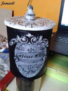 Decoupage, Plaster Art, Tin Can Crafts, Repurposed Items, Shabby Chic, Metal, Projects, Diy, Vintage