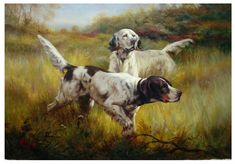 Seeking superior fine art prints of English Setters in the Field by Percival Leonard Rosseau? Customize the size, media & framing for your style. Hunting Art, Hunting Dogs, Realistic Oil Painting, Oil Painting On Canvas, China Painting, Cheap Paintings, Animal Paintings, Animal Tails, Wildlife Art