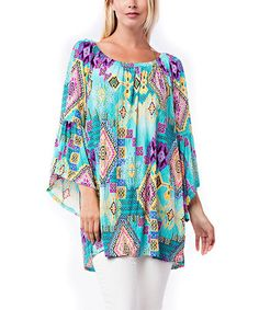 This Turquoise & Purple Geometric Off-Shoulder Tunic - Plus is perfect! #zulilyfinds