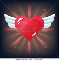 Vector red heart with white wings on dark background. Romantic item for games or other design works.