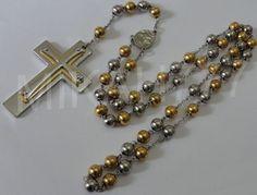 Terço / Crucifixo100% Aço Inox 316l Maciço 72cm Bolinhas 8mm