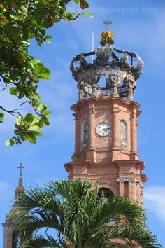 "Closeup of the beautifully regal clock tower of ""Our Lady of Guadalupe Church"" ~ Puerto Vallarta, MEXICO"
