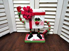 Hand Painted  Primitive Christmas Winter  Sculpted Dancing  Present Doll