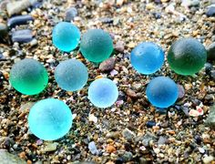 Glowing sea glass marbles