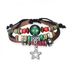 Green Cats Eye Bali Wood Beads Leather Wrap Surfer Bracelet Star Charm