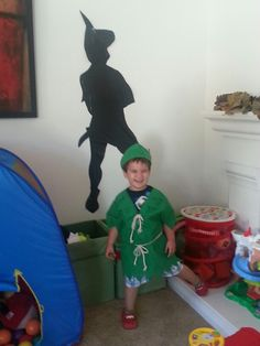 Peter pan costume and shadow (hubby made the shadow out of a trashbag and my son loved it!)