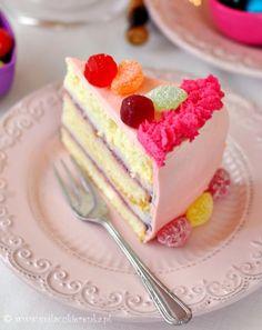 pink cream cake with sweet jam.