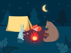 Animal's camp - based on Fundamentals course on After Effect by @motiondesignschool I need to learn more! :D #motiongraphic #animal #camp #animation #illustration #graphicdesign #aftereffect