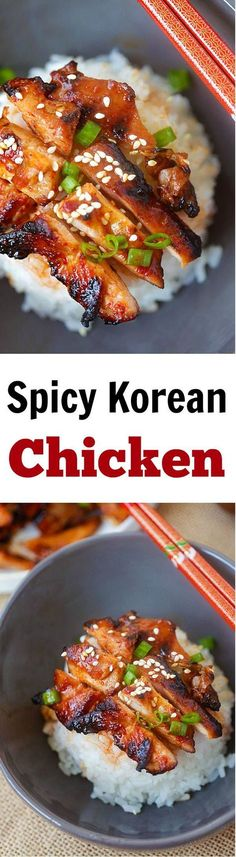 Amazing and super yummy chicken with spicy Korean marinade. So easy to make, cheaper, and better than takeout
