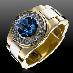 Men Jewelry Ring with Diamonds and Sapphire