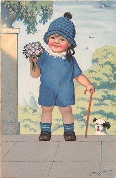 Alte AK col. Künstlerkarte Fritz Baumgarten Mädchen im blauen Boddy m. Blümchen | eBay