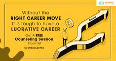With so many career options, you may be too confused to be able to make a sound decision. So, go for a counseling session to know your strengths and make the right career move.  #Freecounseling #Career
