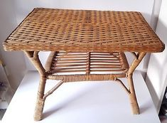 Midcentury-tiki-bamboo-wicker-rattan-cane-coffee-side-table-vintage-bohemian